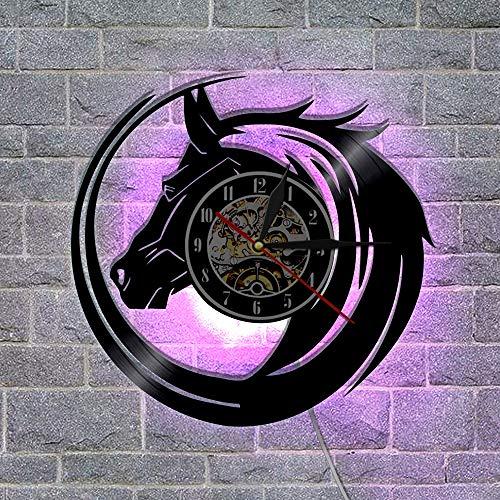 YZJYB Caballo Oscuro Reloj De Pared con Registro De Vinilo LED De 7 Colores Noche Reloj Retro De La Lámpara De Pared Hecho A Mano Artista del Hogar del Reloj De Pared Regalo Creativo