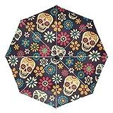 Ombrello da viaggio piccolo Antivento da esterno per pioggia Sun UV Auto compatto Copri ombrelli 3 pieghe - Teschi di zucchero floreali messicani