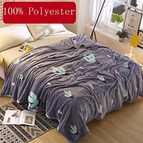Wddwarmhome Couverture Chaude Grise Cactus Motif Chambre Couverture de lit Couverture Couverture de Voyage Couverture de Voyage Polyester matériel Couvertures (Taille : 180 * 200cm)