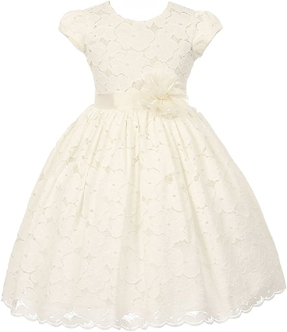 iGirlDress Little Girls Short Sleeve Cotton Floral Lace Flower Girl Dress (4-14)