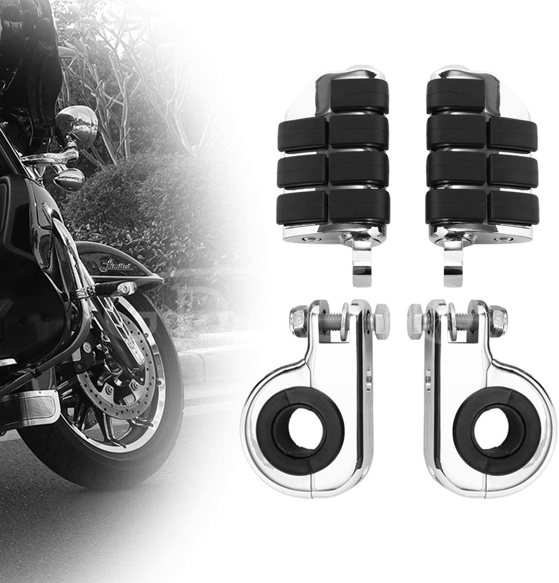 GDAUTO Motorcycle Footpegs Foot Highway Popular product Tulsa Mall Pegs(ChromeïRest