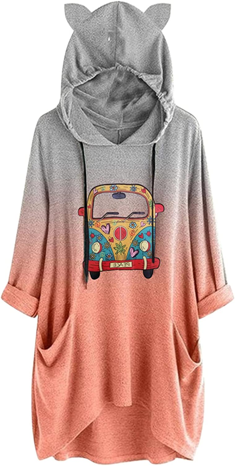 Pullover Top for Women, Hoodie For Women Loose 3/4 Long Sleeve Casual Graphic Hooded Sweatshirt Trendy Loose Casual Tee