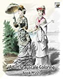 Adult Coloring Book (24 Pages 8'x11'/A4) Victorian Era Fashion Lady vol 1 FLONZ Vintage Designs for Grayscale Coloring