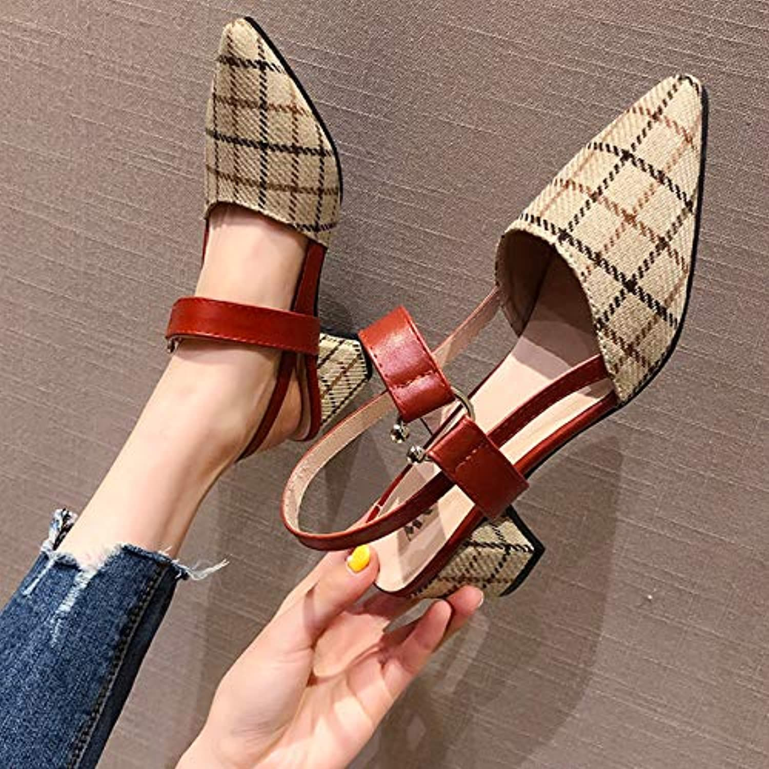 Sandals Female 2019 Summer New Thick with Pointed French Girls high Heels Korean Version of The Word Buckle Fairy shoes,A,US6 EU36 UK4 CN36