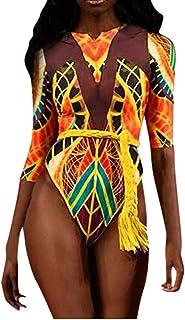 Lialbert Traje de baño sexy y colorido estampado africano para mujer, moldeador de figura, estampado étnico, con flores, b...