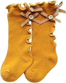 LZDseller01, LZDseller01 - Calcetines para bebé y niña, diseño de Lazo, Mezcla de algodón para recién Nacido, con Lazo y Lazo, No nulo, Amarillo Jengibre, Medium