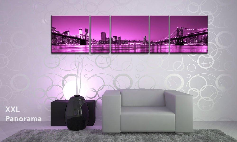 TOP impresión sobre lienzo NEW YORK PANORAMA rosa BRIDGE 5 piezas ...