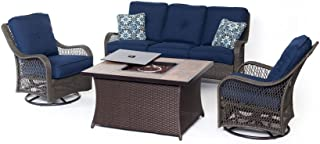 Hanover ORLEANS4PCFP-NVY-A 4 Piece Orleans Woven Lounge Set with Fire Pit Table, Navy Blue Outdoor Furniture