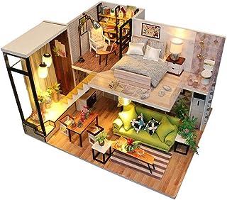XYZMDJ Gör-det-själv miniatyrdockhus-kit, hantverk trädockhus modellkit bästa gåvor för tonåringar och vuxna