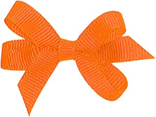 Wee Ones Girl's Baby Grosgrain Hair Bow on No Slip Clip - Orange