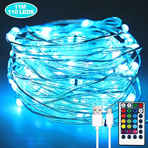 Anpro Fairy Lights, 110LED 11 M 16 Colors String Lights, with Remote Control, Battery and USB Power Supply, Suitable for Bedroom Decoration Party Halloween Christmas, Waterproof String Lights