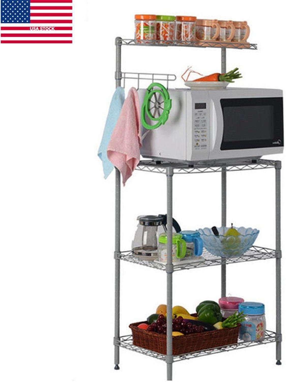 Yaonieo 3 Tiers Kitchen Baker's Rack Microwave Cart Storage Workstation Kitchen Shelving Unit 21.7  L × 13.8  W × 47.2  H, Silver Grey (1 )