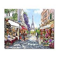 水彩キャンバス絵画インテリアパリフラワーカフェストリートシーン風景ポスターとプリント壁アートパネルリビングルームの家の装飾60x80cmフレームなし