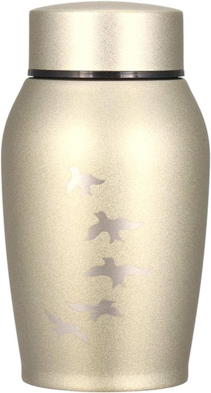 ASDASDASD urnas de Acero Inoxidable para Mascotas Perro Gato pájaros Cenizas de cremación urna ataúdes de Recuerdo para monumentos funerarios columbario 250ML Gold-Birds