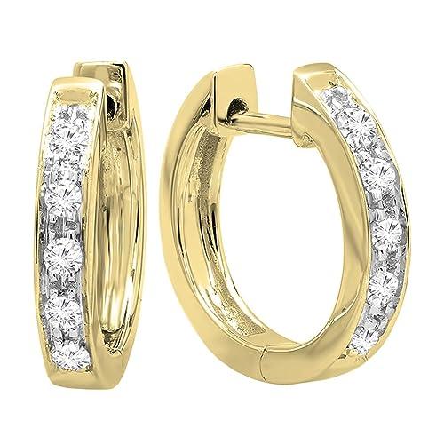770a64893 Dazzlingrock Collection 0.12 Carat (ctw) 10K Round White Diamond Ladies Huggie  Hoop Earrings,
