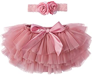 Baby Girls Tutu Tulle Bloomers and Lace Headband Set for Birthday Party