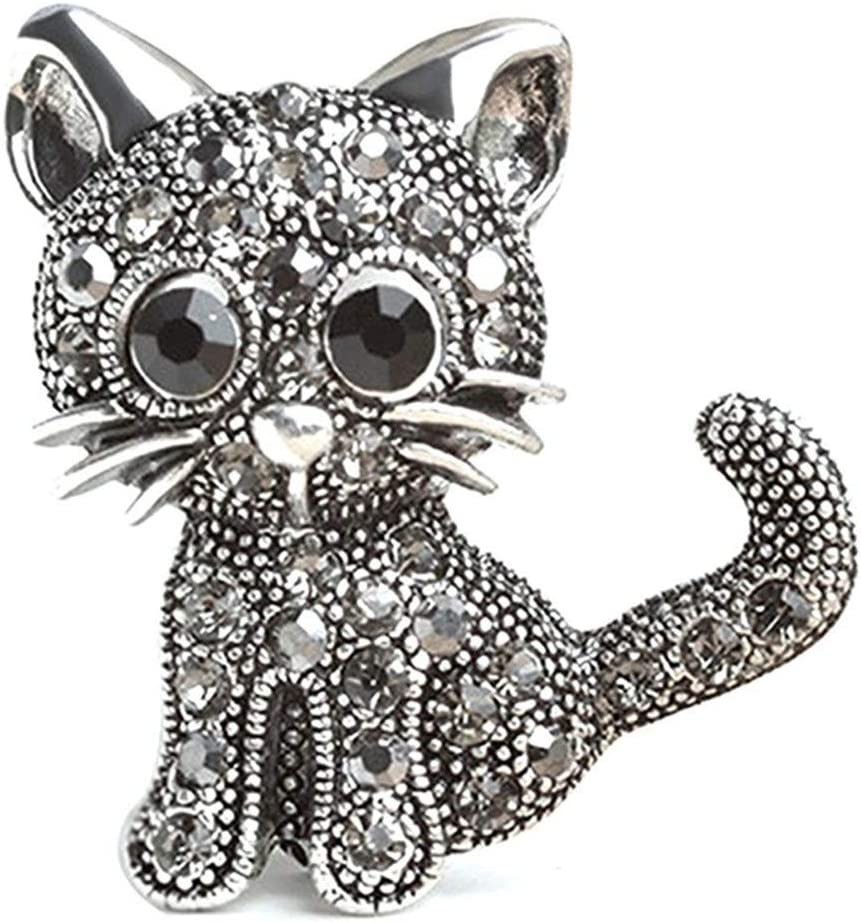 WEILYDF Cat Brooch Women Shiny Rhinestone Brooch Cute Cartoon Dress Brooch Backpack Bag Jewelry Pin Exquisite Clothes Pin