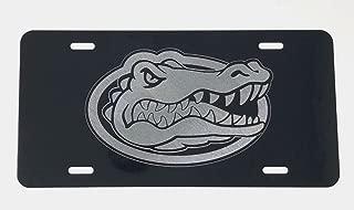 Diamond Etched Florida Gators Logo 2 Car Tag on Black Aluminum License Plate