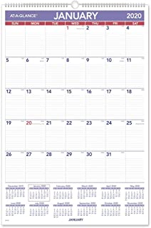 """$21 Get AT-A-GLANCE 2020 Monthly Wall Calendar, 20"""" x 30"""", XLarge, Wirebound (PM428)"""