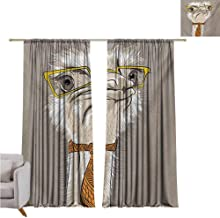 GUUVOR Indie Blackout Curtain Sketch Portrait of Funny Modern Ostrich Bird with Yellow Eyeglasses and Tie 2 Panel Sets W42 x L63 Inch Taupe Beige Yellow