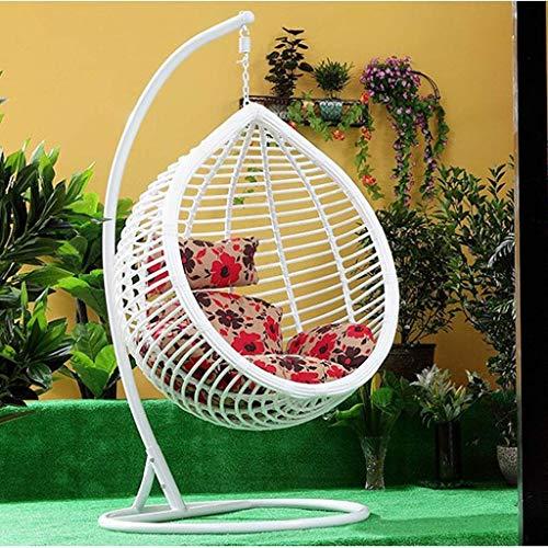 kaikai Colgando de la Rota Silla Suave oscilación del Amortiguador, Silla Colgante de Huevo Cojín for jardín al Aire Libre Patio Colgando Tejido de Mimbre Muebles (Color: B) (sin Silla) (Color : A)