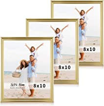 LaVie Home 8x10 Picture Frames(3 Pack, Gold) Single Photo Frame with High Definition Glass for Wall Mount & Table Top Display, Set of 3 Basic Collection