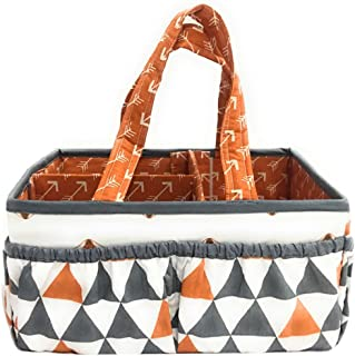 Bacati Playful Fox Nursery Fabric Storage Caddy with Handles, Orange/Grey