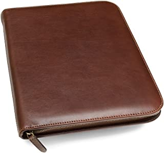 zippered leather portfolio folder