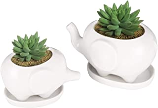 Kawaii Animals Ceramic Flower pot Succulent Planter Elephant Animal Flowerpot, Small Desk Plant Stand Plants Holder for Indoor Outdoor Cactus Succulent Plant, White Elephants Pot, 2 Pieces/Set
