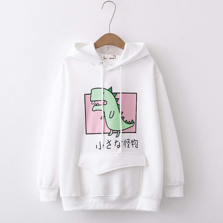 AODONG Hoodies for Women Dinosaur Hoooded Sweatshirt Long Sleeves Splice Tops Cartoon Cute Sweaters Casual Pullover Tops