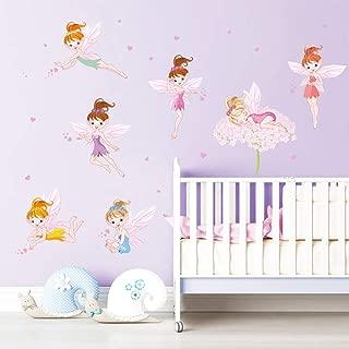ufengke Flower Fairies Wall Stickers Pink Heart Wall Decals Art Decor for Girls Room Nursery Kids Bedroom