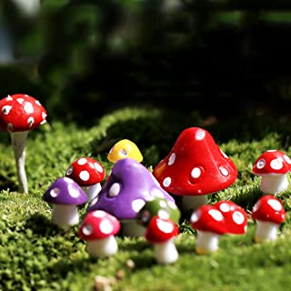 yanQxIzbiu Garden Resin Decor, Miniature Mushroom Micro Landscape Bonsai Succulent Plants Mini Garden DIY Decor - Mixed Color M- Best Indoor Outdoor Decorations for Patio Yard Office and House
