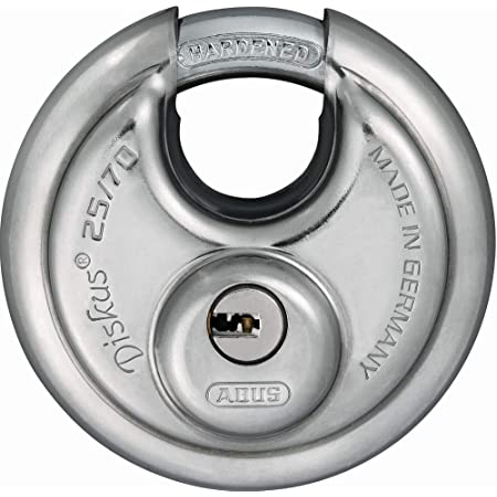 Abus Diskus Vorhängeschloss 25 70 Mit 360 Rundumschutz Inkl 5 Schlüssel Mit Präzisem Wendeschlüssel System 35825 Level 8 Silber Baumarkt