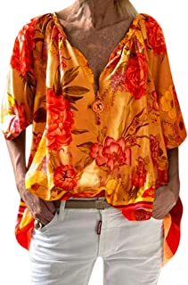 Winsummer Womens Half Sleeve Tops 3/4 Sleeves Casual Loose Top Blouse Floral Printed Henley V Neck Tunic Blouses