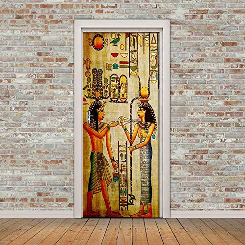 Wnyun Etiqueta de la puerta 3D DIY PVC Autoadhesivo Actualización Decoración del hogar Impresora de paisaje mural egipcio Papel impermeable Decoración de imagen mural-95x215cm