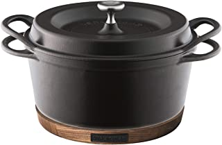【セット買い】バーミキュラ オーブンポットラウンド 22cm マットブラック SUMI(炭) スミ + ナチュラルウッド マグネットトリベット 22cm用 ブラックウォールナット×ブラック BKxBK