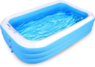 """Lunvon Family Inflatable Swimming Pool, 120"""" X 72"""" X 22"""" Full-Sized, Lounge Pool for Kids, Adult, Toddlers for Ages 6+, Outdoor, Garden, Backyard, Summer Water Party, Blue"""