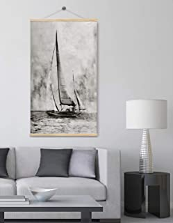 Boat Canvas Prints Wall Art for Home, Neutral Brown Color Seascape, 3D Hand Painted Coastal Oil Paintings, Original Beach Pictures for Living Room and Bedroom Ready to Hang 32x48Inch