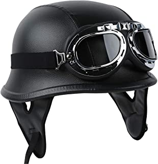 TCT-MT DOT Certified Helmet+Goggles Half Face PU Leather Helmet w/Biker Pilot Goggles German Cruiser Touring Scooter Helme...