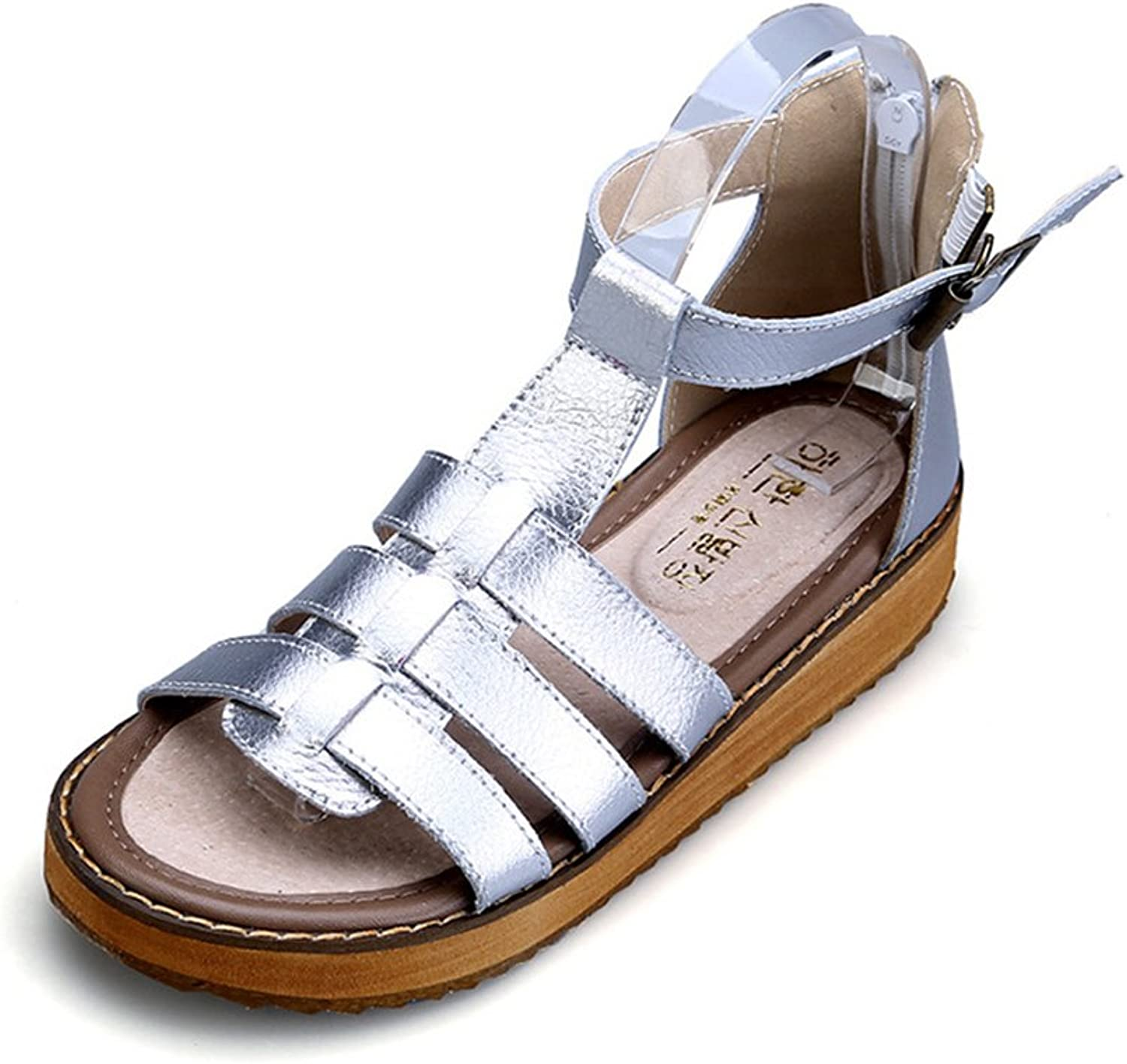 Reiny Women's Leather Casual Flat Fashion Ankle Strap Walking Sandals