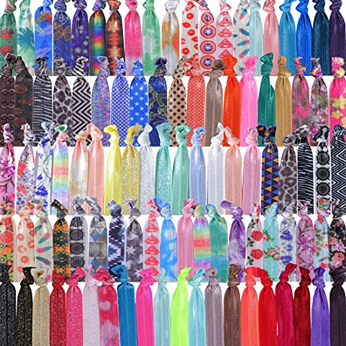 Beauty Wig World 100PCS Elastic Hair Ties Printed Patterns and Multi-Colors Elastic Hair Ribbon Bands Bracelet No Crease Hand Knotted for Women Girls' Hair Accessories