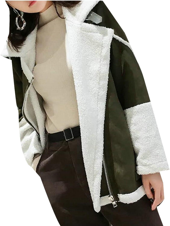 GAGA Women's Winter Fleece Lined Lapel color Block Overcoat