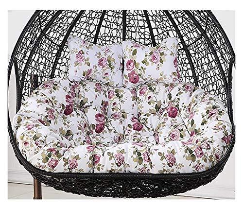 Cojín para silla de huevo Papasan, impermeable, doble cojín de silla Papasan con almohada, grande y espesante para colgar huevos, silla para patio, columpio, para el hogar, dormitorio, jardín comf