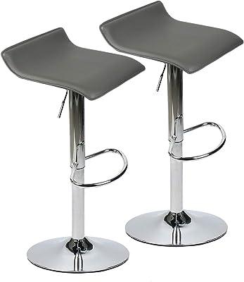Amazon Com Set Of 2 Adjustable Swivel Barstools Pu Leather With Chrome Base Gaslift Pub Counter Chairs Grey Furniture Decor