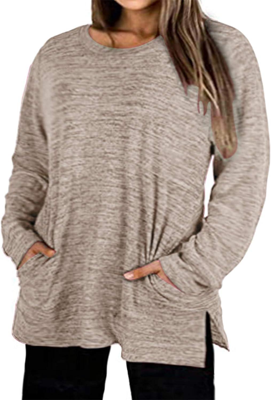 Plus-Size Tops for Women Long Sleeve 100% quality warranty Crew shirt Regular dealer Sweatshir T Neck