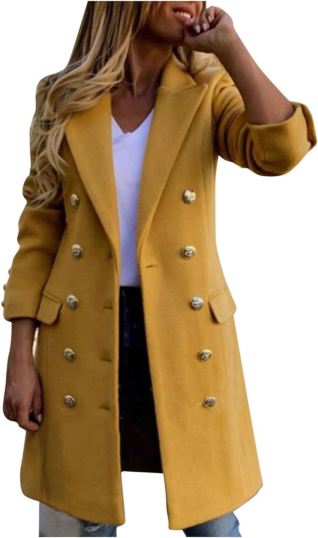 YUNDAN Women's Casual Blazers Winter Warm Woolen Double Breasted Long Blazer Jackets Trench Coat Outwear