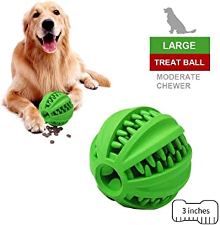 EETOYS IQ Dog Treat Ball – Interactive Treat Dispensing Dog Toy Non Toxic Rubber Dog Ball Food Dispensing Dog Toy Reduce Boredom | Dental Hygiene Teething Toy for Puppy Small Medium Dogs