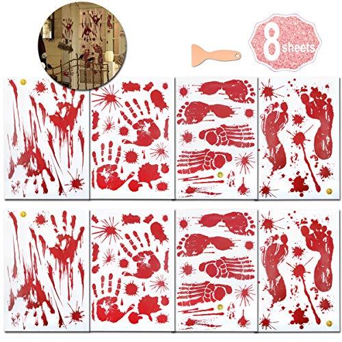 Halloween Blutige Hände Fensteraufkleber, (8 Blatt Halloween Sticker Aufkleber), Realistisch Wirkende Schaurig Blutige Sticker, Halloween Dekoration by AniSqui