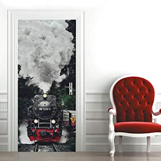 oumomy 3D Adesivi per Porte Cavallo Autoadesivo Murale Decorazione della Casa Adesivi Murali Camera da Letto Soggiorno Rimovibile Poster Art Stickers-77x200 cm
