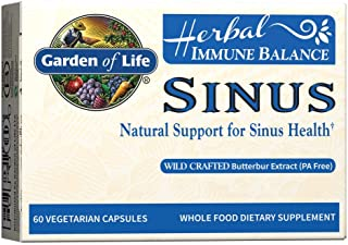 Garden of Life Natural Sinus Support - Herbal Immune Balance Sinus with Enzyme Blend, Vegetarian, 60 Capsule *Packaging Ma...